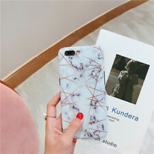 Geometric Gold Laser Line Soft IMD Marble Stone Phone Case For iPhone 7 8 Plus