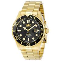 Invicta Men's Watch Pro Diver Quartz Black Dial Yellow Gold Bracelet 30026