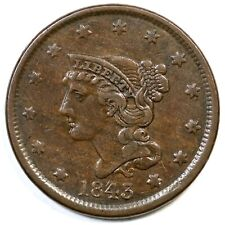 1843 N-3 R-3 Petite Head Small Letters Braided Hair Large Cent Coin 1c