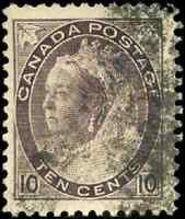 Canada #83 used F-VF 1898 Queen Victoria 10c brown violet Numeral CV$30.00