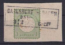 Brustschild Mi Nr. 23 mit R3 Carlsruhe Baden Bahnhof gest. auf Briefstück