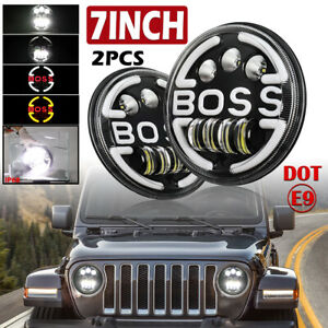 Pair 7 Inch LED Headlights Halo Angle Eyes For Jeep Wrangler JK LJ TJ 1997-2017