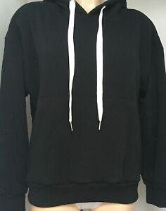 MADE IN ITALY Ladies Black Sweatshirt Hoodie  Angel Wing Back Hooded -S-M /M-L