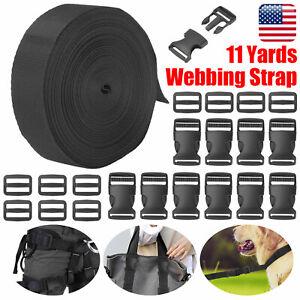 1 Inch 11 Yards Nylon Heavy Webbing Strap w/10 Set Plastic Buckle Slide Release