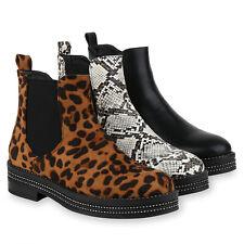 Klassische Damen Stiefeletten Plateau High Heels Leo Print Boots 826140 Trendy
