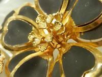 Large Gold Tone Black Enamel  Flower Vintage 1960's Brooch  77M9