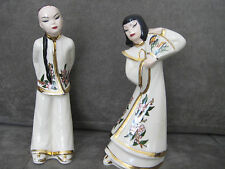 2 Vintage Signed Gmdjapanese Women Figurine Hand Painted W Gold Trim