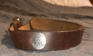 Men's Alabama Crimson Tide Bama Belt Concho Brown Leather Belt