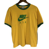VTG Nike Air White Yellow Green Sz Medium/Large M Ringer T Shirt Gray Tag Swoosh