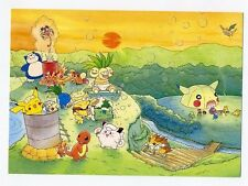 Pokemon 1999 Bath Japanese Promo Beautiful Post Card Pikachu Squirtle Meowth