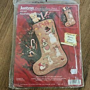 Janlynn Christmas Cross Stitch Kit - Personalised Snowman Stocking NEW