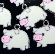 6 Enamel Lucky Pig Pendant Charm 18x20mm  - White / Mint Cream