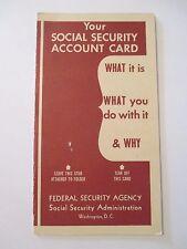VINTAGE 1948 SOCIAL SECURITY ACCOUNT FEDERAL Information Advertising Brochure