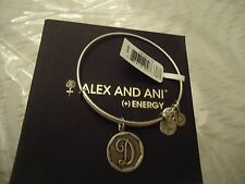 Alex and Ani Initial D Bangle Bracelet  Russian Silver New W/Tag Card & Box