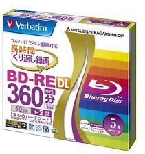 Verbatim Mitsubishi 50GB 2x Speed BD-RE Blu-ray Re-Writable Disk 5 Pack