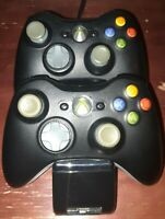 Microsoft Xbox 360 Lot Of 2 Black Wireless Controllers With NYKo Charge Base