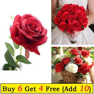 Artificial Roses Silk Flowers Single Stem Blooms Wedding  Bridal Bouquet Decor
