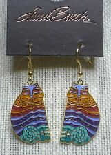 Laurel Burch Rainbow Cats #5026 Gold Tone Dangle Drop Pierced Earrings New NWT