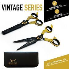 "Pro Scissors Barber Hairdressing &Thinning Shears 6.5"" Black Gold Vintage Set"
