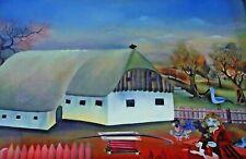 Horvat K. Granica ungarischer Maler ? - Bauer vor seinem Hof Hinterglasmalerei