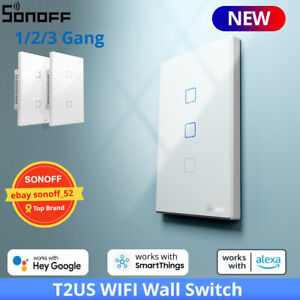 SONOFF T2US WIFI Smart Home Wall Touch Light Switch RF Voice APP Control eWeLink