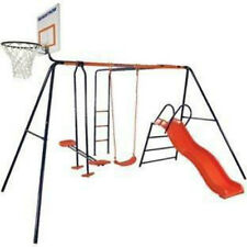 Hedstrom Atlas Kids Swing Monkey Bars Slide And Glider Basketball Net 3-10 Years