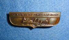 """1898 U.S. Spanish American War, """"Remember The Maine"""" Patriotic Pinback Badge."""