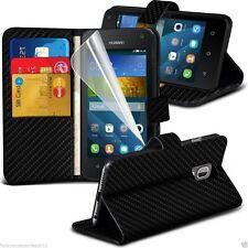 Quality Leather Black Carbon Fibre Efffect Card Slot Wallet Phone Case Cover