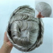 Natural Mens Toupee Hair Replacement System Thin Skin Hair Blond with Grey #1780