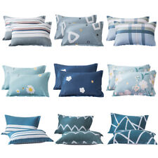 Set of 2 Printed Cotton Bed Pillow Cases Queen Pillowcase Covers Soft Breathable