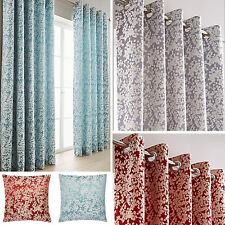 Orla Blossom Jacquard Design Eyelet Curtains (Pair of) - Choice of Colour & Size