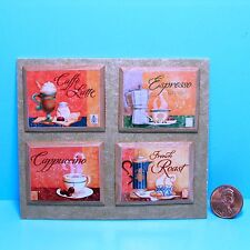 Dollhouse Miniature Set of 4 Coffee Pictures on Wood Plaque Frames P664