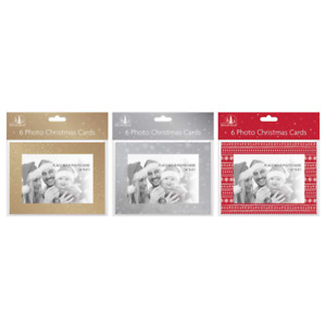 6 PHOTO CHRISTMAS CARDS MAKE YOUR OWN PHOTOFRAME FESTIVE PERSONALISE CARDS XMAS