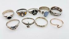 925 Silver Onyz Agate Quartz Ring Lot Sz 6.5-8 TS783