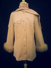 Vintage 60 70's Women Jacket Coat Honey Beige Faux Fur Rhinestones Scarf RARE