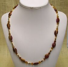 Necklace Handmade With Red & Yellow Tiger Jasper Gold Plate Tubes Gold Crystals