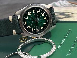 VINTAGE ROLEX TUDOR OYSTERDATE 9050/0 34mm GREEN CALIFORNIA 24-hour DIAL 25J !!