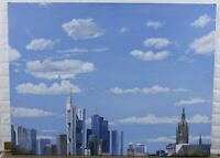 Martin Eller 47 3/16x35 3/8in Oil Painting Frankfurt At Main Skyline Clouds