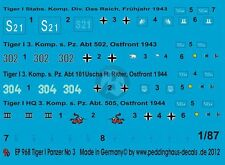 Peddinghaus 1/87 (HO) Various Tiger I Tank Markings WWII No.3 (4 tanks) 968
