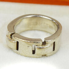 Authentic HERMES Logos Ring Size 53 Silver 925 Accessories Vintage 09A253
