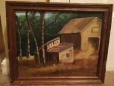 Vintage Folk Art Oil Painting Canvas Americana Cabin Woods Scene Framed