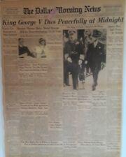 1936 Vintage Newspaper King George V Dies Prince Edward VIII to be King