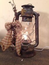 Country Primitive Old Rusty Metal Lantern  Electric Light Farmhouse Decor