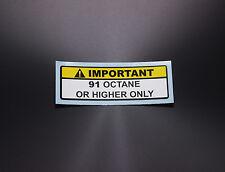Warning Label 91+ or Higher Octane Gas Gasoline Fuel Tank Sticker Decal