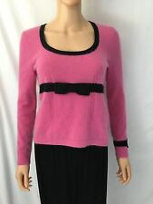 Nanette Lepore M Pink Pure Cashmere Sweater With Black Bow
