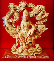 "8"" China Natural Boxwood Hand Carving Dragon Free Kwan Yin Goddess Buddha Statue"