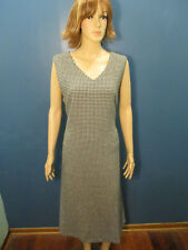 size 18 black and white knit lined zip up houndstooth dress by THE TOG SHOP