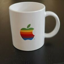 Vintage 1980s Apple Computer Rainbow Logo Coffee Mug Carolina Computer Stores
