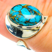 Blue Copper Turquoise 925 Sterling Silver Ring Size 6 Adjustable Jewelry R51709F