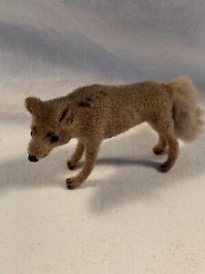 Vintage Wagner Kunstlerschutz West Germany Handwork Flocked Animal Coyote Wolf